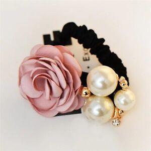 Ribbon Rose Flower Pearls Hair Bow Holder Elastic Rubber Band Women Hair Bow