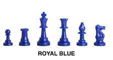 Triple - Weighted Regulation Colored Plastic Chess Pieces - Royal Blue