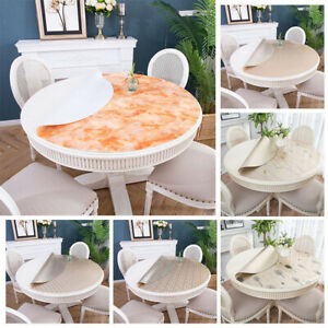 Round Waterproof Wipe Clean Table Cloth Cover Protector Dining Kitchen Birthday