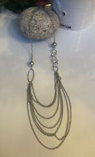 Silver Tone Multi-Chain Statement Necklace #706-422