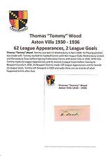Tommy bois Aston Villa 1930-1936 très rare original main signé découpe / carte