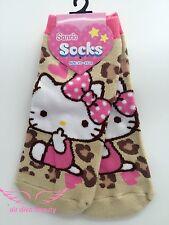 Lady Women Girl Warm Winter Japan Hello Kitty Leopard Brown Fashion Short Socks