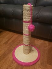 """18"""" Tall by 12"""" round base. Tan and Pink Sisal Cat Scratching Post with Ball Toy"""