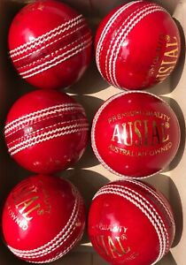 AUSIAL® Premium Quality Leather Cricket balls (Pack of 6 Balls) (Red & White)
