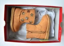 New Jumping Beans Tamika Girls Mid Calf Faux Suede Chestnut Stars Boots Size 5T