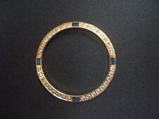 GOLDEN BEZEL WITH 4 SAPPHIR CZ RHINESTONE FOR 36MM ROLEX DATEJUST DAY-DATE WATCH