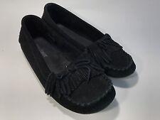 Minnetonka Slip On Moccasins Black Leather Fringe Women's Size 8 GUC