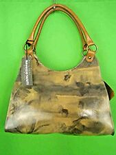 MAURIZIO TAIUTI ITALY Tan Printed Leather NEW Shoulder Satchel Bag
