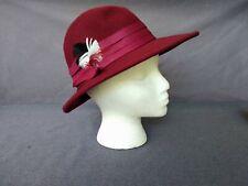 Vintage Tally-Ho Women's/Ladies Burgundy Derby Church Hat 100% Wool - Poland