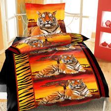 Mikrofaser Bettwäsche 135x200 cm 2 teilig Afrika Tiger Rot