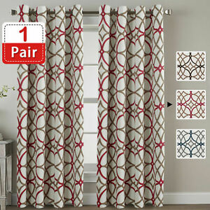 1 Pair Curtains Blockout Eyelet Living Room Curtains for Bedroom, Soft and Thick