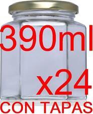 24 x Frascos Hexagonal de vidrio 390 ml esterilizable botes cristal con tapas