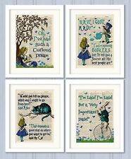 Set of 4 Alice in Wonderland Antique Book page Art Prints A4-Nursery Set 3 Turq