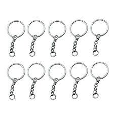 10pcs DIY 25mm Polished Silver Keyring Keychain Split Ring Short Chain Brand New