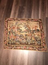 Antique Needlepoint Wall Hanging Hand Stitched Decoration See Pics