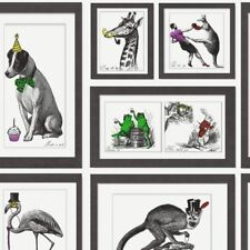 Dog Wallpaper Funny Animal Print Bold Collage Black White Multi Holden Decor