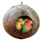 For Pet Budgie Parrot Conure Coconut Shell Bird House Hut Cage Feeder Toys QK