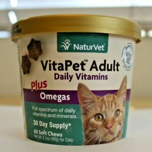 VitaPet SOFT Chew NaturVet Adult Cats Daily Vitamins Plus Omegas 60ct FREE SHIP
