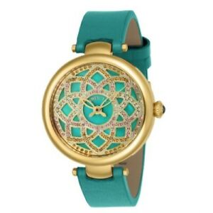 Invicta 24540 Wildflower Quartz Crystal Accented MOP Leather Strap Womens Watch