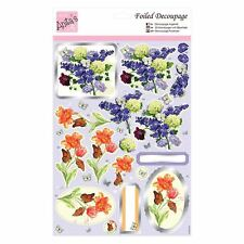 ANITAS FOILED DECOUPAGE SPRING FLOWERS TOPPERS FOR CARDS & CRAFTS