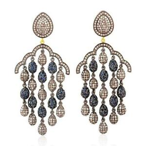 Chandelier Earring natural pave diamond 925 Sterling Silver Fine Jewelry