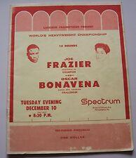 1968 JOE FRAZIER  OSCAR BONAVENA PROGRAM AT PHILADELPHIA'S SPECTRUM DEC 10 1968