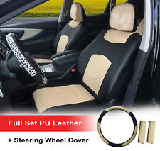 "PU Leather 2 Front Car Seat Cover +15"" SW Dodge 859 SW Black/Tan"