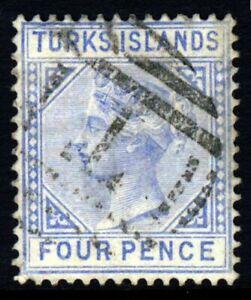 TURKS ISLANDS QV 1881 Four Pence Ultramarine Die I Wmk Crown CC P.14 SG 50 THIN