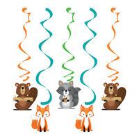 5 Woodland Animals Dizzy Danglers Birthday Party Hanging Decoration Swirls Boys