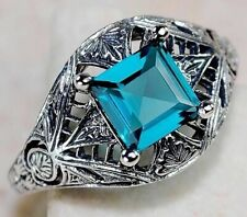 1CT London Blue Topaz 925 Sterling Silver Vintage Art Ring Jewelry Sz 9, FG3-3