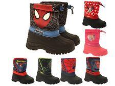Boys Girls Disney Waterproof Rain Snow Boots Winter Tie Top Wellies Kids Size