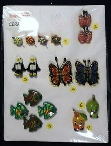 Vtg 1990s JHB International SAMPLE Ceramic Novelty BUTTON Pendant CARD Guatemala