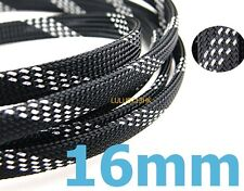 16mmx1m SILVER BLACK Expandable Braided DENSE Cable Sleeve High Densely Audio