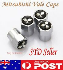 Mitsubishi Logo Emblem Wheel Tyre Tire Valve Stems Air Dust Cover Screw Caps Car
