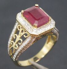 4.28ct Solid 14K Yellow Gold Genuine Natural Blood Ruby Engagement Diamond Ring