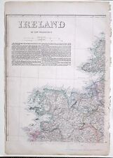 1864 LARGE ANTIQUE MAP ~ IRELAND NORTH WEST SHEET MAYO CLEW BAY DONEGAL BAY