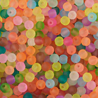 500PCS Transparent Frosted Glass Beads Round Mixed Color 4~4.5x4mm DIY Making