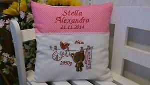 Kissen mit Namen bestickt zur Geburt(Teddy Girl rosa  )