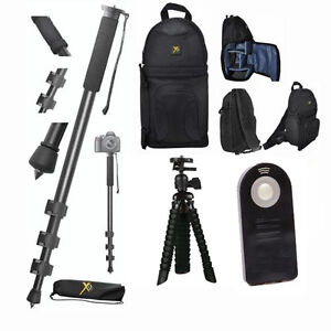 """72"""" PRO MONOPOD + TRIPOD + REMOTE + BACKPACK  FOR CANON EOS REBEL 1200D 1300D"""
