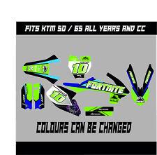 KTM SX 50 SX 65 Kit completo de gráficos Calcomanías Pegatinas DE MOTOCROSS todos los años fortnite
