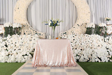 """PartyDelight 50""""X50"""" Square Champagne Sequin Tablecloth for Wedding, Party, Chri"""