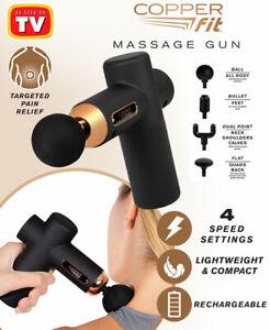 Copper Fit Percussion Massage Gun w/ 4 attachments, Cordless, Rechargeable - TV