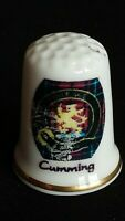 CUMMING COURAGE FAMILY CLAN CREST BADGE BANNER FINE CHINA SOUVENIR THIMBLE
