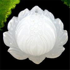 BA5276 27x29x10mm Beautiful white Jade carved Snow lotus Pendant bead