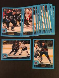 2001/02 Topps Vancouver Canucks Team Set 16 Cards