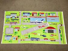 Car Play Mat Fabric Panel Road Truck Vehicle Plane Airport Boys Quilt Panel Town