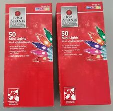 NEW Home Accents Holiday 50 Mini Multi-Color Christmas Lights Set of 2 boxes