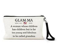 Personalised Make Up Bag Cream Linen Glam-ma Gift Grandma Nan Nanny Mother's Day