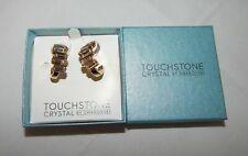 Touchstone Crystal By Swarovski Golden Baguette Bar Earrings NEW 1087E