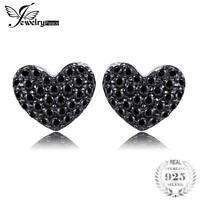 Fashion 0.29ct Natural Black Spinel Love Heart Earrings For Women Solid 925